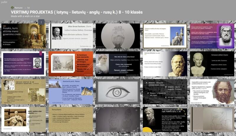 """Klasikinis ugdymas. Integruotas vertimų  projektas ,,Posakis, kuris atitinka mano gyvenimo credo"""""""
